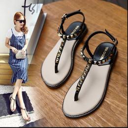 Lilac Flat Shoes Canada - Summer 2018 new rivet clip toe sandals women clamped beach shoes women flat heel Roman sandals 35-41