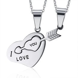 womens valentines gifts 2019 - European Sliver Arrow 316 Stainless steel Pendant Necklaces For Womens Mens Lover Couple Jewelry Heart Necklace Valentin