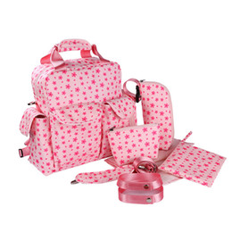 baby bags pcs UK - 7 PCS SET 2016 Baby Nappy Bags Diaper Bag Mother Shoulder Bag Fashion Maternity Mummy Handbag Waterproof Baby Stroller NEW