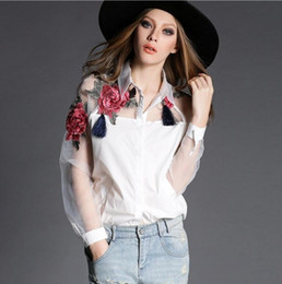 Wholesale Women White Blusas Feminina Organza Flower Embroidery Mesh Hollow out Long Sleeve Shirt Blouse Clothes Tops Plus Size
