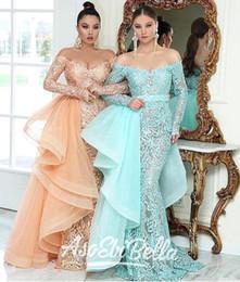 Fantastic evening dresses online shopping - ASO EBI Fantastic Lace Mermaid Evening Dresses With Removable Overskirt Elegant Off Shoulder Sheer Appliques Long Prom Pageant Gowns BA9923