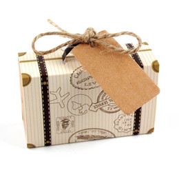 06eedaf70 100 unids Kraft DIY Vintage Mini Maleta Caja de Caramelo con Etiquetas Caja  de Regalo de Empaquetado de Chocolate Bolsas Dulces Fiesta Favor de la Boda  Para ...