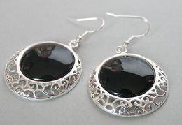 "sterling silver flower earring hooks 2019 - 925 Sterling Silver Hook Natural Black Natural Stone Onyx Coin Beads Earrings 2"" discount sterling silver flower ea"