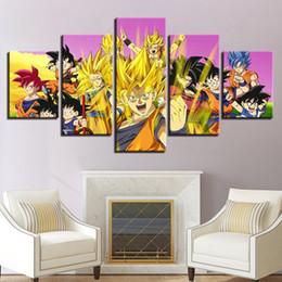 $enCountryForm.capitalKeyWord Australia - Modern Oil Painting On Canvas Unframed 5 Pieces Anime Dragon Ball Goku Wall Art Picture For Kids Room Home Decoration