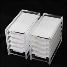 Korean False Eyelashes Wholesale NZ - 5 Layers Acrylic Clear Eyelash Storage Box Makeup Cosmetic Organizer False Eyelashes Glue Pallet Holders W8264