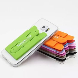 Wholesale Touch U Shape Universal Lovely Mini Silicone Phone holder Stand with Card Slot for cell phone DHL