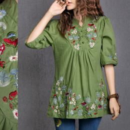 Vintage Mexican Embroidered Dress Australia - Hot Sale Vintage 70s Peasant Mexican Ethnic Floral Embroidered Boho Hippie Blouse Dress Clothing Vestidos S M L
