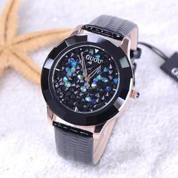 $enCountryForm.capitalKeyWord NZ - GUOU Watches Women Fashion Luxury Rhinestone Glitter Ladies Watch Leather Diamond Watch Hour Clock relogio feminino reloj mujer Y18102310