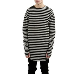 oversized long t shirts UK - Striped T-shirt men wholesale fashion LONG oversized extend t shirts designer finger hole long sleeve cotton top tees
