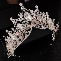 Discount pageant queen - Wedding Crown Pageant King Queen Crown Bridal Tiara Chinese Hair Accessories Head Jewelry Headpiece Large Crystal Bride