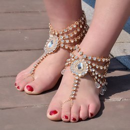 Anklet Toe Chain Australia - 1PC Silver Gold Anklets Rhinestones Linked Toes Bridal Wedding Jewelry Barefoot Sandals Beach Decoration Water Drop Shaped Foot Chains