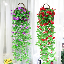 $enCountryForm.capitalKeyWord NZ - Silk Artificial Flowers With Leaves Silk Wall Hanging Vines fake rose Vine basket flower Rattan For Balcony Fence Wedding garland Decoration
