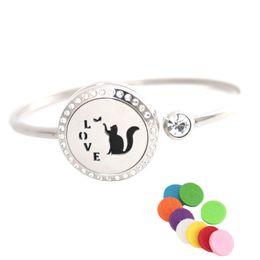 Discount oil bracelets - 25mm Fox kiss Stainless steel Aromatherapy locket Bracelet Bangle essential oil diffuser locket bracelet with 10pcs Felt