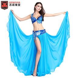 a10d83259 2018 Luxury Professional Belly Dancing Costumes Set Performance Diamond 3  PCS Bra Belt Skirt Belly Dance Oriental Costume S M L