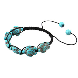 turtle charm green Australia - Summer Style Sea Turtle Beads Bracelets for Women Men Classic Handmade Rope Weaving Bracelet Beach Jewelry Adjustable