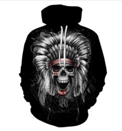 Wholesale indians clothes for sale – custom New Hip Hop Style D Printed Hoodie Sweatshirt Unisex Indian Skull Funny Clothing Tops HH035