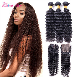 Queen Brazilian Deep Wave Hair Australia - Deep Wave With Closure 4X4 Top Lace Closure Grade 8A Brazilian Virgin Hair 4 Bundles Spring Queen Rosa Beauty Weave Deep Curly