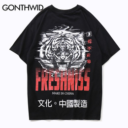 character tees Australia - wholesale Chinese Character Tiger Printed Short Sleeve T Shirts 2018 Hip Hop Tops Tees Streetwear Mens Fashion Casual Tshirts