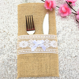 vintage cutlery holder 2019 - 5pcs lot Natural Burlap jute hessian Silverware Napkin Holders Cutlery Pouch bag bow placemat for Vintage Wedding Decor