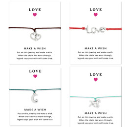 friendship greetings card Canada - Free DHL Wish Bracelet With Gift Card Love 7 style Charm Bracelets Bangles for Women men Friendship Statement Jewelry Greeting Cards