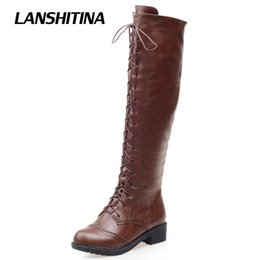 riding boots fashion knee high 2019 - LANSHITINA Women Kneed Boots Motocycle Shoes Winter Autumn Cool Boot Female Quality Fashion Riding Round Toe Bota Shoes