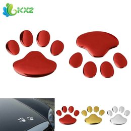 Wholesale Car Stickers Canada - Exterior Accessories Stickers 5pairs! 3D PVC Auto Car Sticker and Decals Dog Paw Footprint Nick Cover Sticker Car Styling Decoration