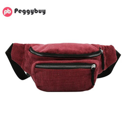 Discount belt pouches for women - Vintage Corduroy Waist Pack Women Pouch Belt Chest Messenger Shoulder Bag Fanny Pack for Women Chest Bag wallet Bolsas