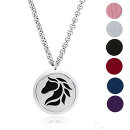 Discount white flower oil - 30mm Stainless Steel Aromatherapy Fillligree Locket Essential Oil Diffuser Locket Necklace 6 Different Refill Pads Horse