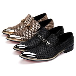 Discount pointy flats shoes - Mens Italian Leather Shoes Iron Pointy Toe Loafers Slip on Prom Shoes Men Casual Shoes Luxury Brand Flats With Chains