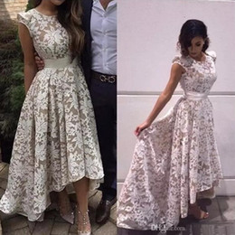 $enCountryForm.capitalKeyWord NZ - 2019 Elegant White Champagne High Low Party Dresses Jewel Neck Cap Sleeves Zipper Prom Cocktail Dresses Lace Homecoming Dresses