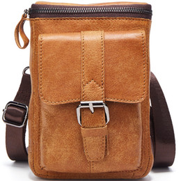 leather small waist bag for men 2021 - Male Shoulder Crossbody Cell Wallet For Genuine Casual Small Purse Bags Phone Holster Men Carry-On Leather Mini Waist Daily Bag Gmgem Dgpik