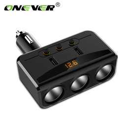 Discount sockets splitter - 3 Way 100W Cigarette Lighter Socket Splitter 3.1A Dual USB Car Charger Adapter with Independent Switches and Voltmeter L