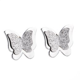 China Fashion Korean Jewelry 316L Stainless Steel Stud Earrings Butterfly Earrings For Women suppliers