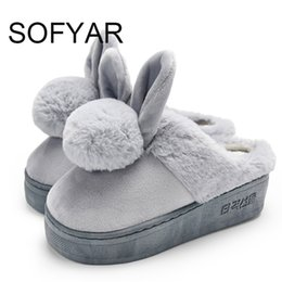 Slipper Bottoms Canada - Winter high with cotton slippers female cute cartoon rabbit thick bottom indoor household waterproof FURRY shoes PLATFORM