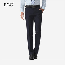 Easy Care Suits Australia - Size 40 Easy Care Casual Business Trousers Formal Office Navy Blue Bestman Wedding Pants For Men Suit Pants Pantalones Hombre