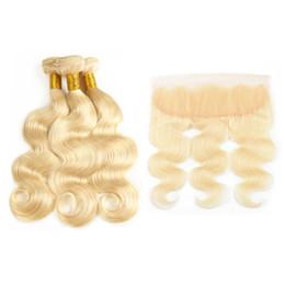 Discount brazilian platinum blonde hair extensions - #613 Platinum Blonde Body Wave Hair Weave With Lace Frontal Ear To Ear Closure With Bundles Bleach Blonde Brazilian Huma