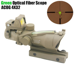 micro rifle scopes UK - NEW Trijicon ACOG 4x32 Fiber Source Green Optical Fiber Real Fiber Riflescope With RMR Micro Red Dot Sight Dark Earth