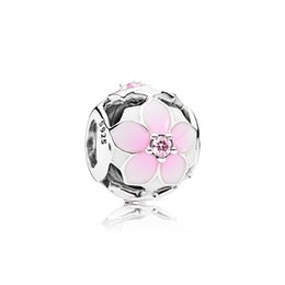 Chinese  Wholesale Pink enamel flowers. Charm 925 Sterling Silver European Charms Beads Fit Pandora Snake Chain Bracelet DIY Jewelry manufacturers