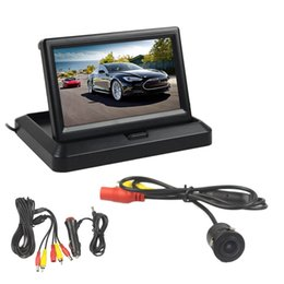 Foldable Monitor Camera Australia - DIYKIT 5inch Foldable TFT LCD Car Monitor HD Rear View Reverse Backup Car Camera Parking System Car Charger