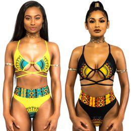 Two piece high waisT swimwear online shopping - Woman Swimsuit Swimwear Lady Bikini Femme Digital Printing Divided Body Adult Terylene Two Piece Suits High Waist Elasticity jy V