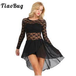 e7aa77655a TiaoBug Women Dance Leotard Dress Long Sleeve Floral Lace Chiffon Dance  Bodysuit Ballet Tutu Ballerina Dress Gymnastics Leotard