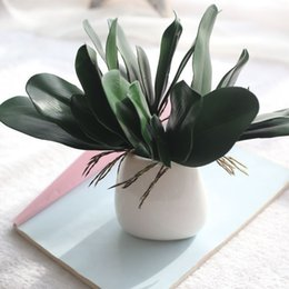 Fake potted Flowers online shopping - Home Furnishing Artificial Flower Moth Orchid Shape Decorate Wedding Ceremony Plastic Simulation Flowers Diy Potted Plant Fake Leaf ar jj
