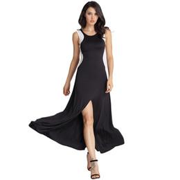 $enCountryForm.capitalKeyWord UK - Wholesale Free Shipping Hot women fashion sleeveless maxi black patachwork split long open leg office lady dress