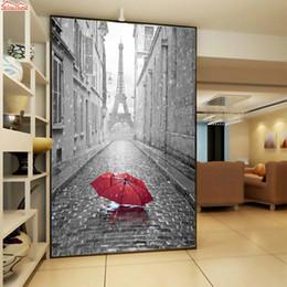 Large Paper Rolls Australia - ShineHome-Large Custom Abstract Paris Eiffel Tower Raining City Wallpaper Landscape for 3 d Living Room Wall Paper Mural Rolls