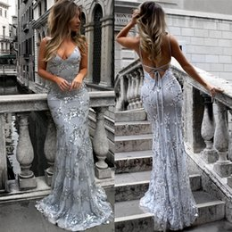 evening gown backless 2018 - Hot Sale Silver Sequined Prom Dresses 2019 Sexy Mermaid Deep V Neck Backless Formal Evening Gown Celebrity Party Red Car