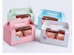 Cupcake Muffins Cake Australia - 100pcs Card Paper Party Cupcake boxes, Cake Packaging Boxes holder 2pcs cupcake with handle muffin box free shipping