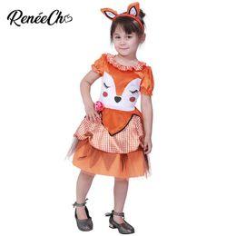 reneecho cute cartoon fox cosplay baby girl halloween costume for kids toddler dress birthday party christmas dress headband