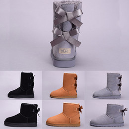 navy blue shoes girls 2019 - WGG Winter Snow Women Boot Australia Tall Short Kneel Ankle Boots Black Grey Navy Blue Chestnut Girl Lady Outdoor Fashio