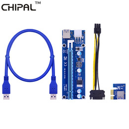 usb pci e riser 2019 - CHIPAL VER006C 60CM PCIE PCI-E 1X to 16X Riser Card Extender + USB 3.0 Cable   SATA 15Pin to 6Pin Power Cord for BTC LTC