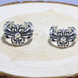 Emerald Bezel Canada - Classic Silver Finger Ring Female Cross Thai Silver Ornament Cross Flower Ring kendra scott designer jewelry kendra scott jewelry kendra